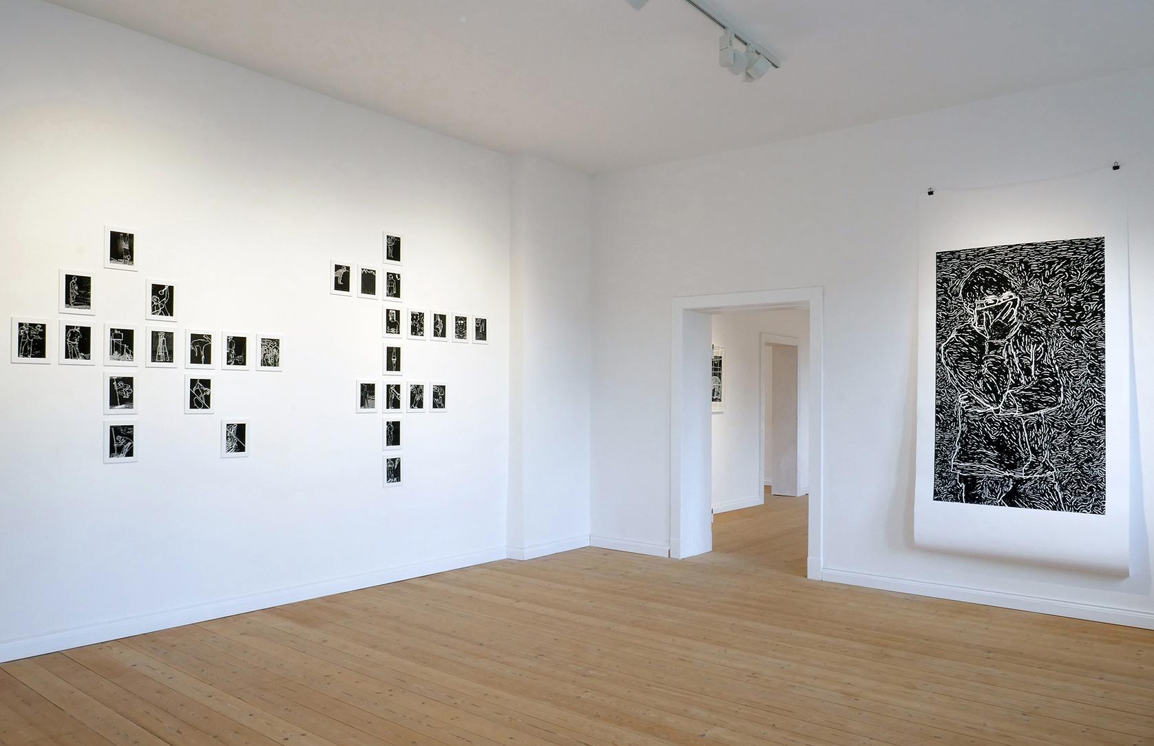 Blick in die Ausstellung mit Blicken gefüttert