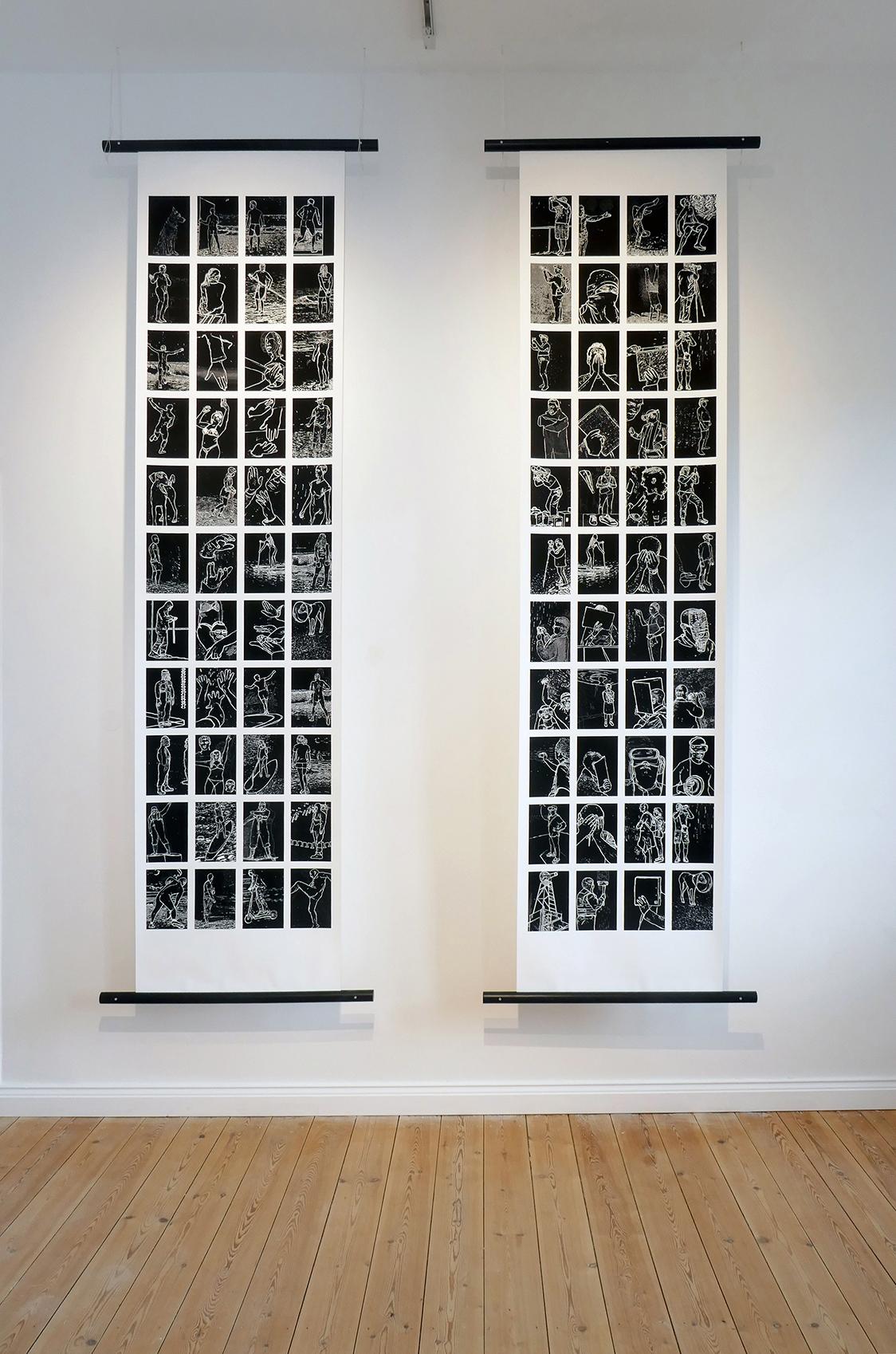 Ausstellung mit Blicken gefüttert Bildrollen
